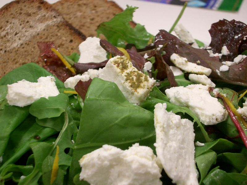 Goat cheese on salad