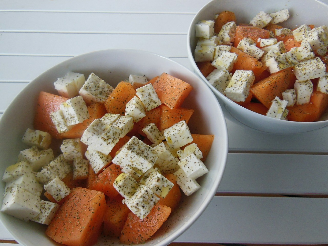 Feta cheese with melons