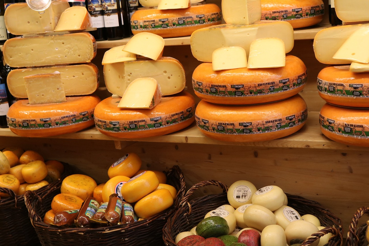cheese on a display